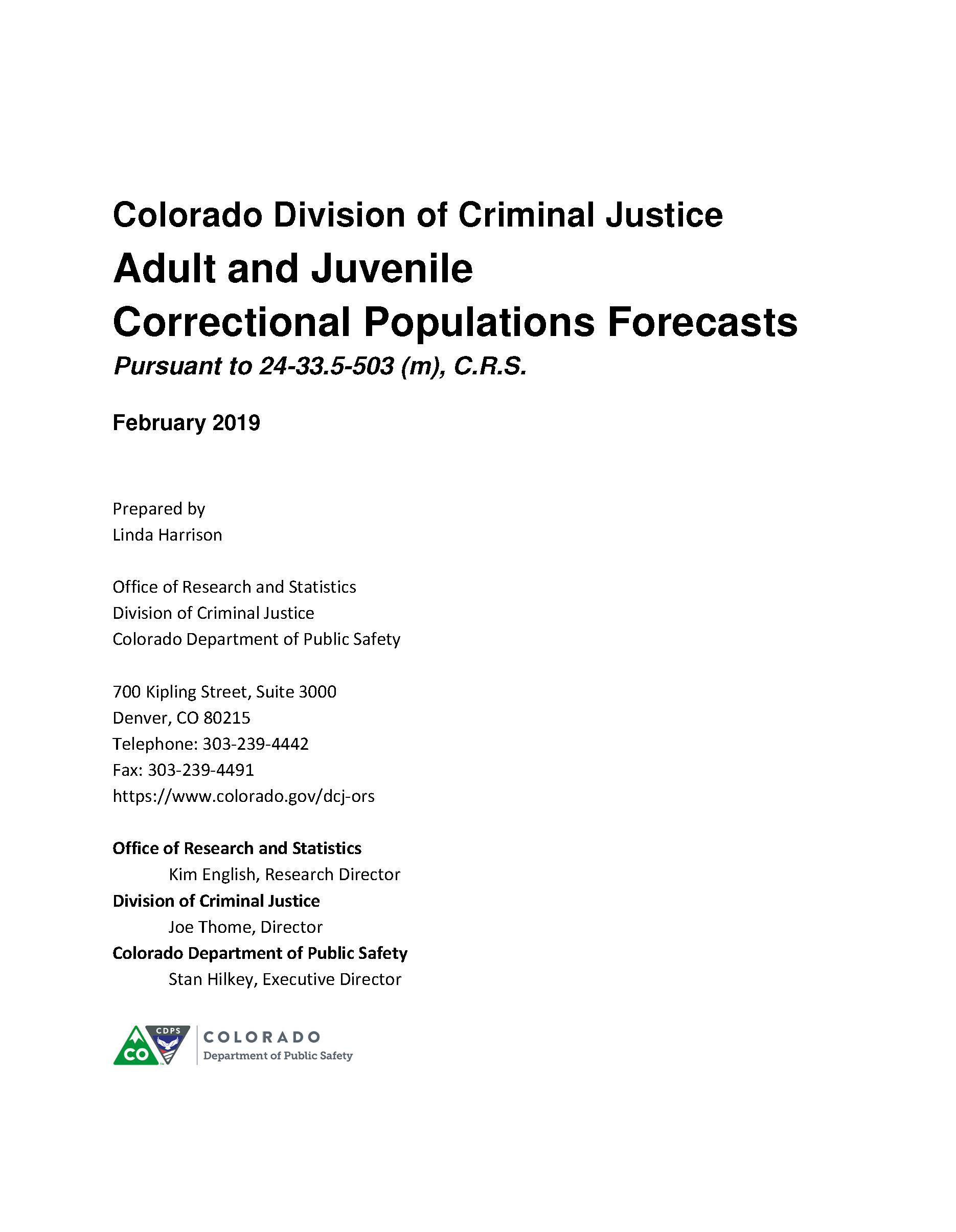 Correctional Population Forecasts, FY 2019 (February 2019)