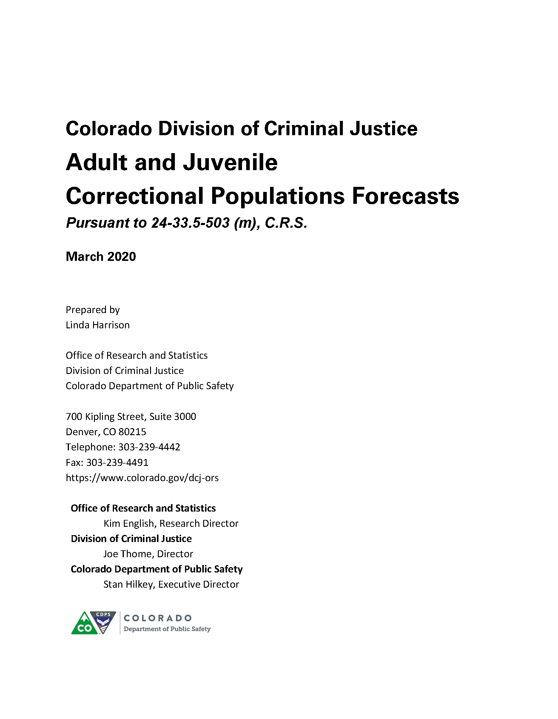 Correctional Population Forecasts, FY 2020