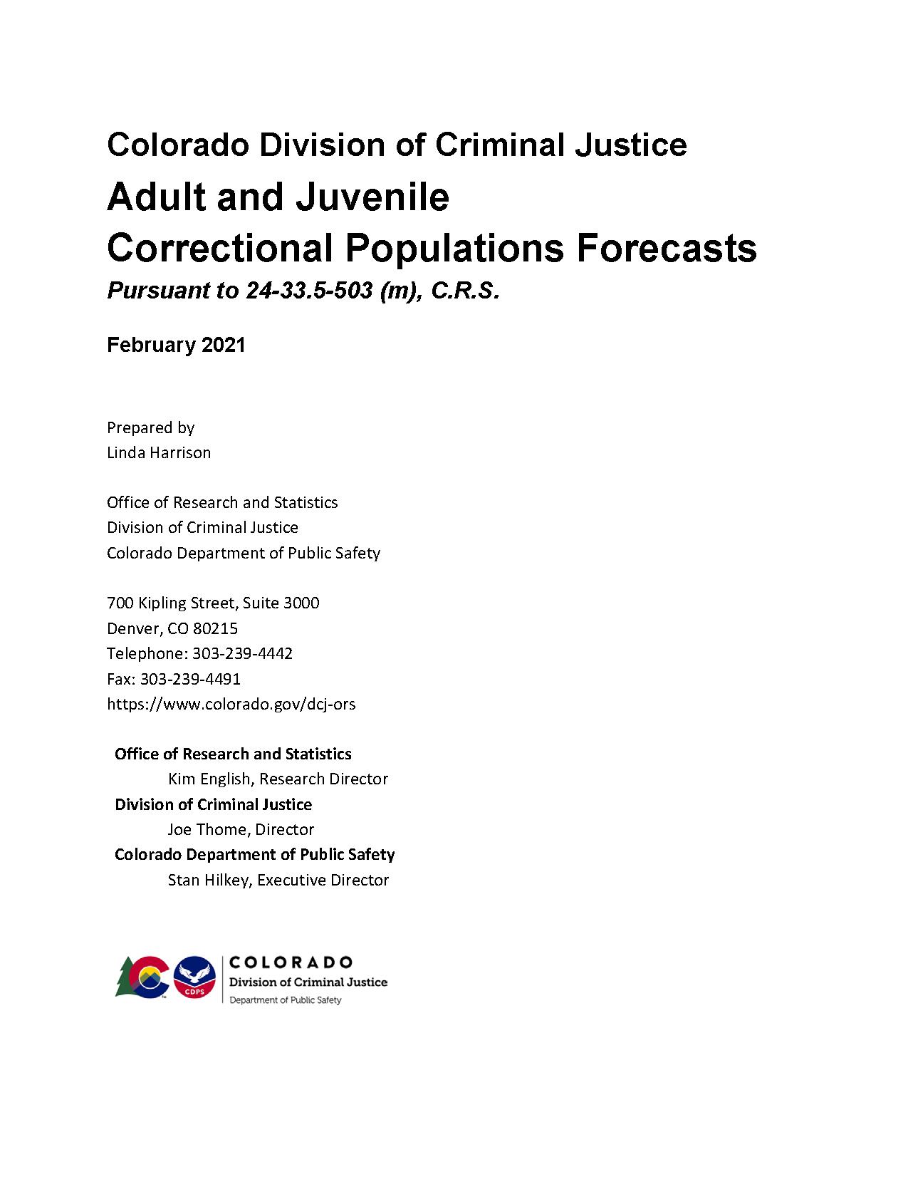 Correctional Population Forecasts, FY 2021