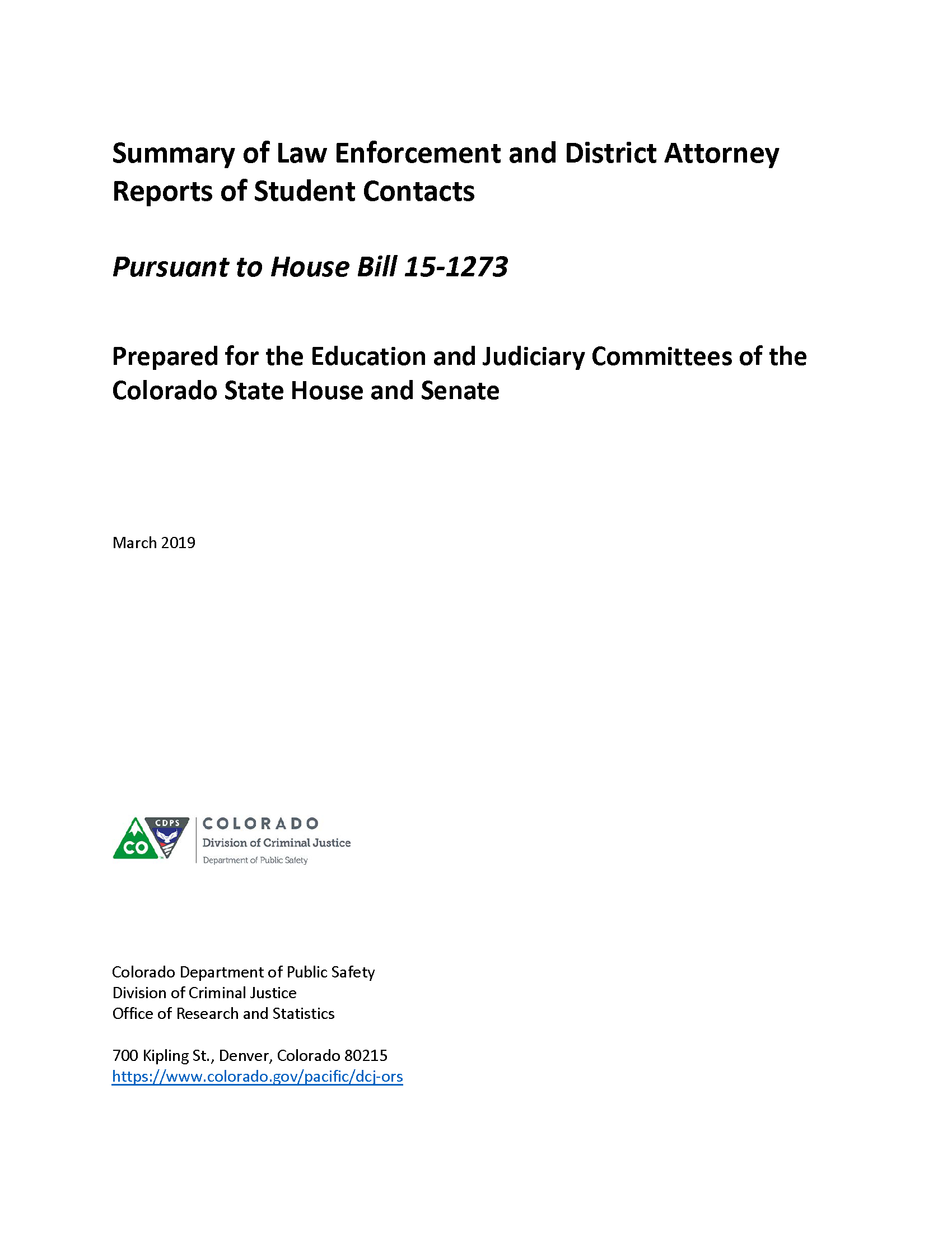 Summary of Law Enforcement and District Attorney Reports of Student Contacts (March 2019)