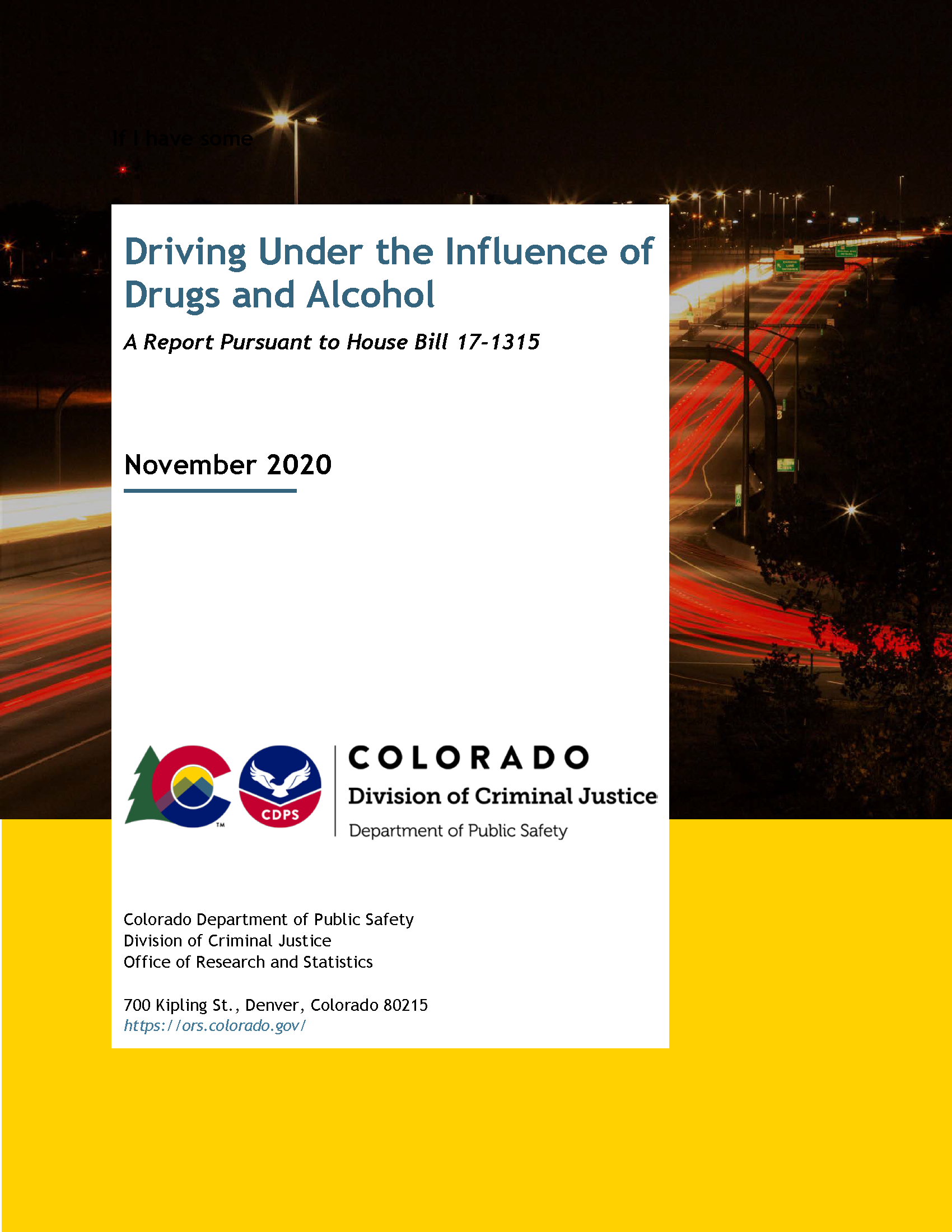 Driving Under the Influence of Drugs and Alcohol (November 2020)