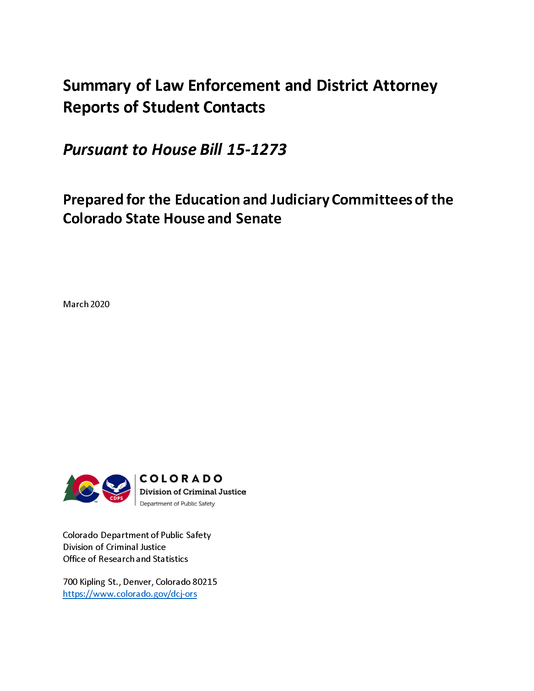 Summary of Law Enforcement and District Attorney Reports of Student Contacts (March 2020)