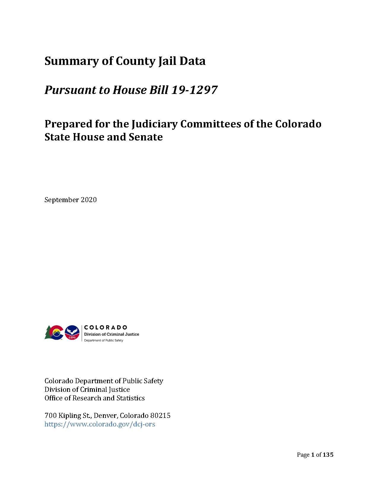 Summary of County Jail Data (September 2020)