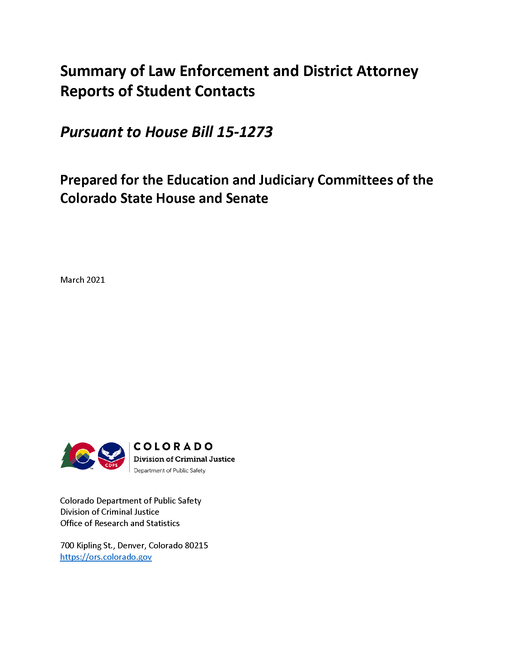Summary of Law Enforcement and District Attorney Reports of Student Contacts (March 2021)