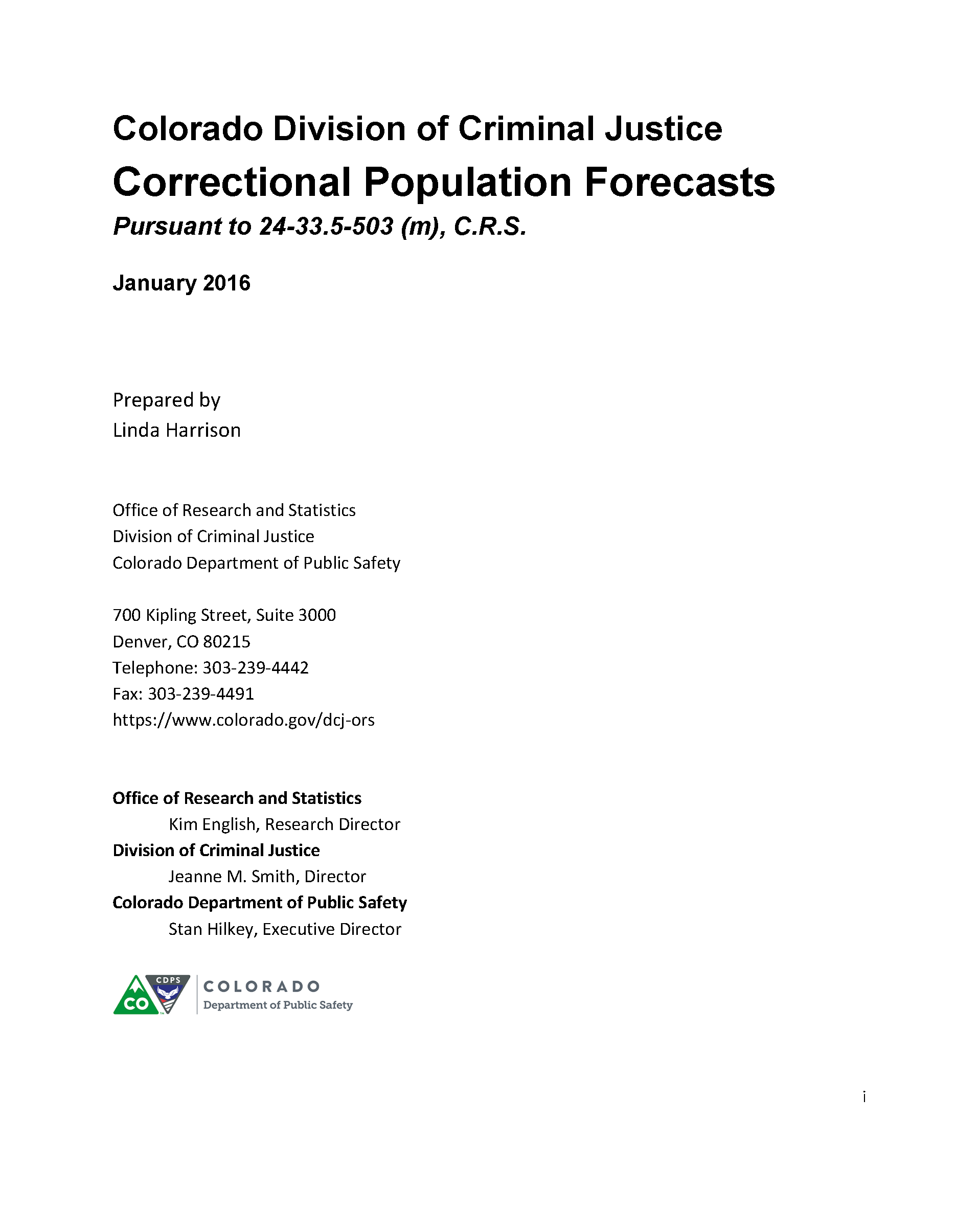 Reports And Documents Division On Criminal Justice Office Of