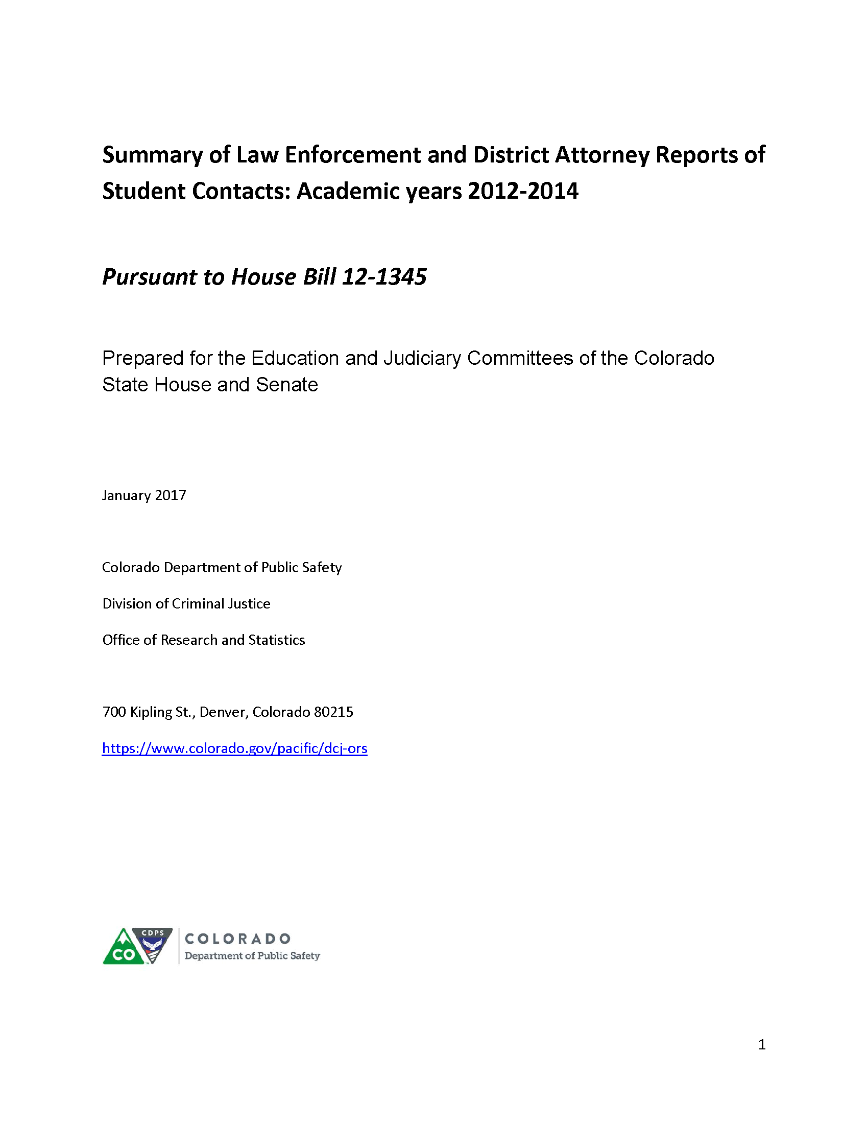 Summary of Law Enforcement and District Attorney Reports of Student Contacts (January 2017)