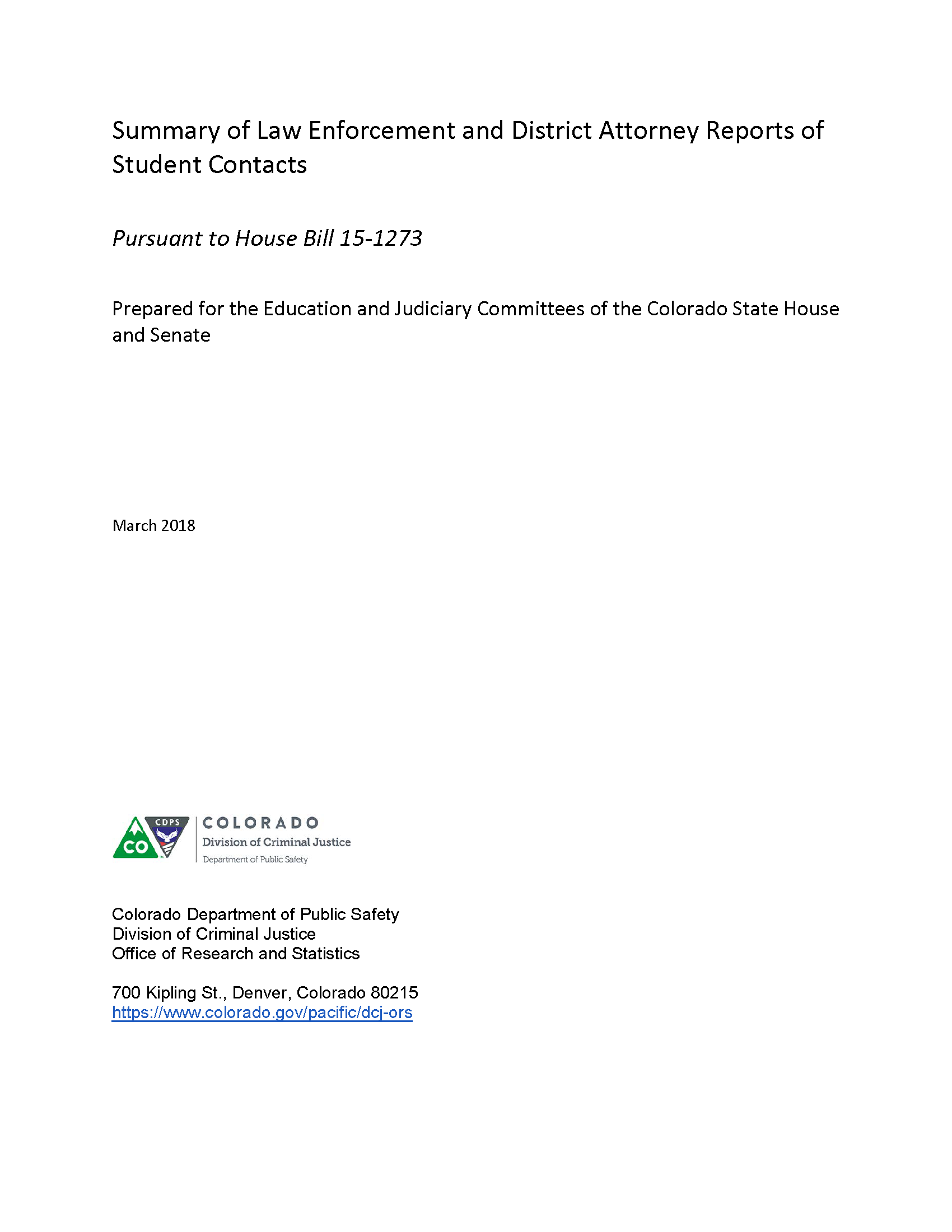 Summary of Law Enforcement and District Attorney Reports of Student Contacts (March 2018)