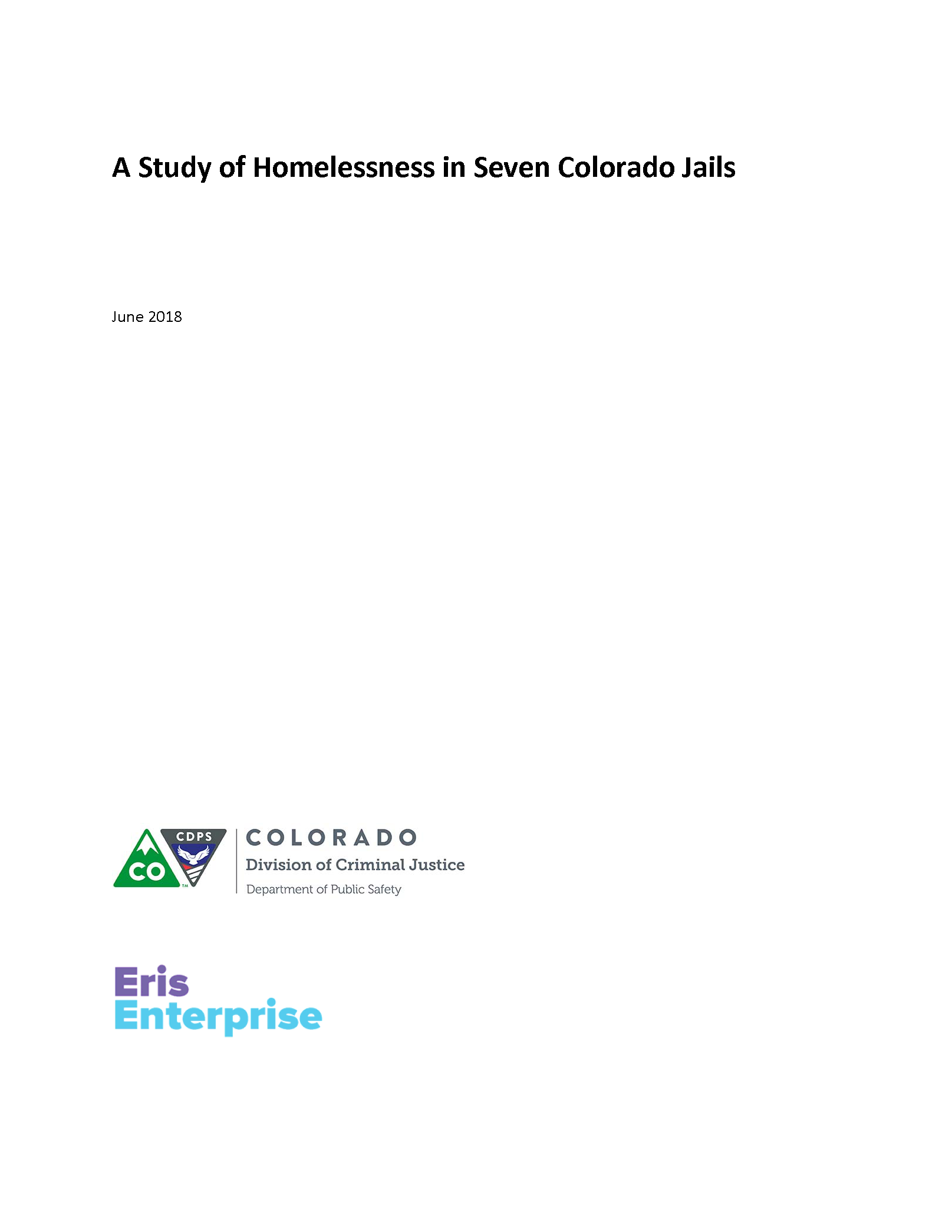 A Study of Homelessness in Seven Colorado Jails (June 2018)