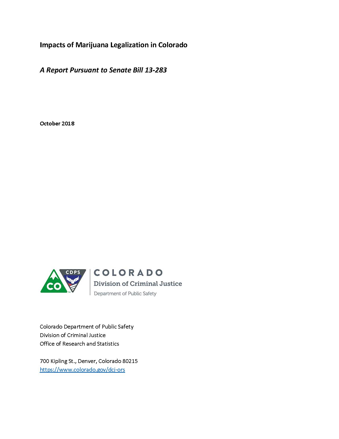 Impacts of Marijuana Legalization in Colorado (October 2018)